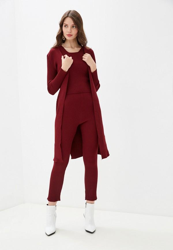 женский костюм rossa, бордовый