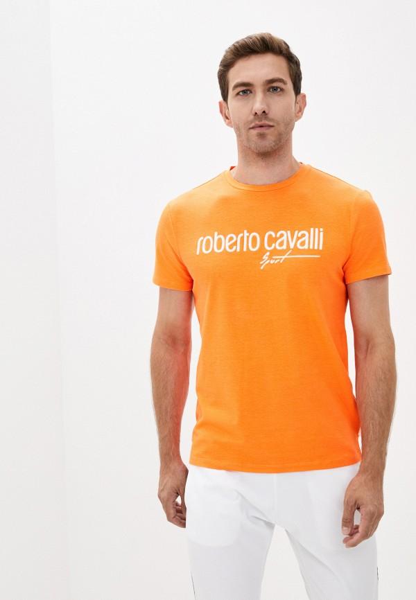 мужская футболка roberto cavalli sport, оранжевая