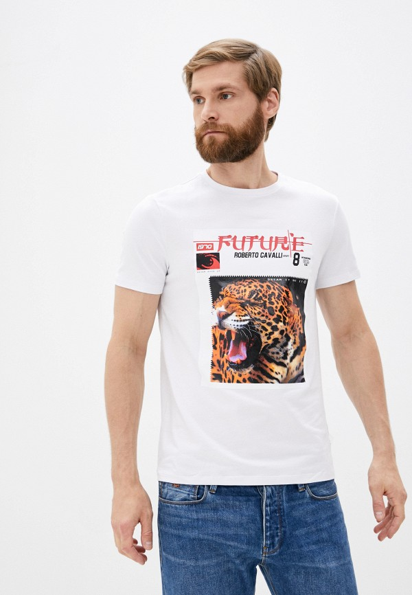 мужская футболка roberto cavalli sport, белая