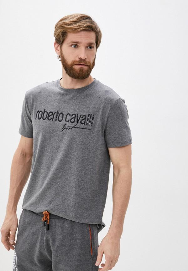 мужская футболка roberto cavalli sport, серая