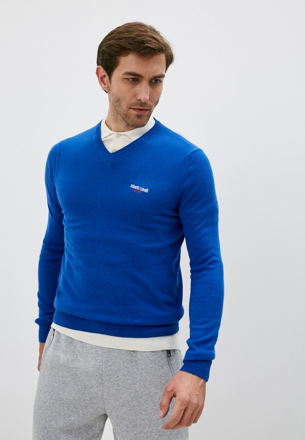 мужской пуловер roberto cavalli sport, синий