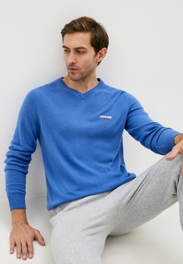 мужской пуловер roberto cavalli sport, голубой