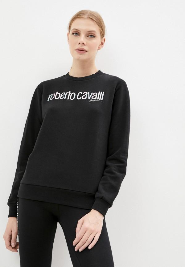 женский свитшот roberto cavalli sport, черный
