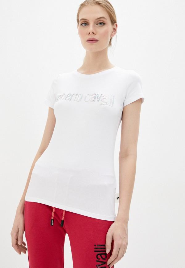 женская футболка roberto cavalli sport, белая