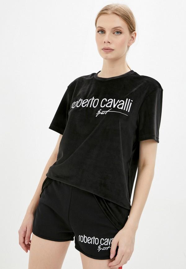 женская футболка roberto cavalli sport, черная