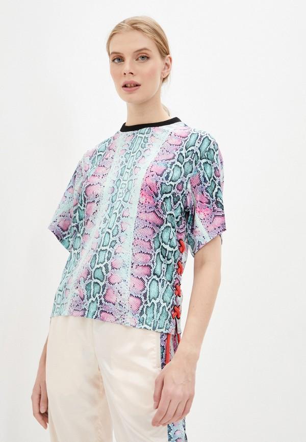 женская футболка roberto cavalli sport, разноцветная