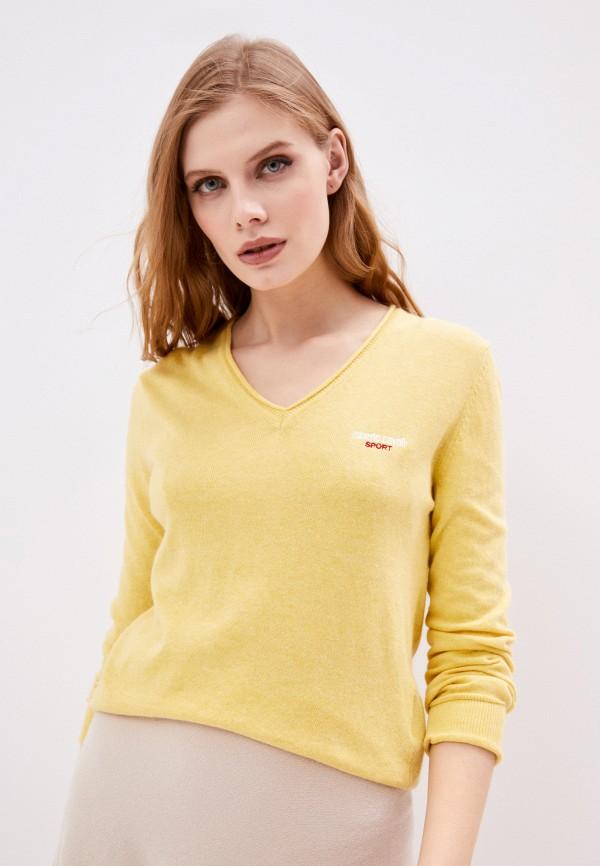 женский пуловер roberto cavalli sport, желтый