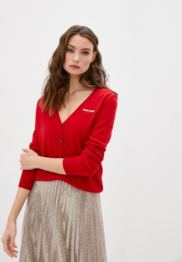 женский кардиган roberto cavalli sport, красный