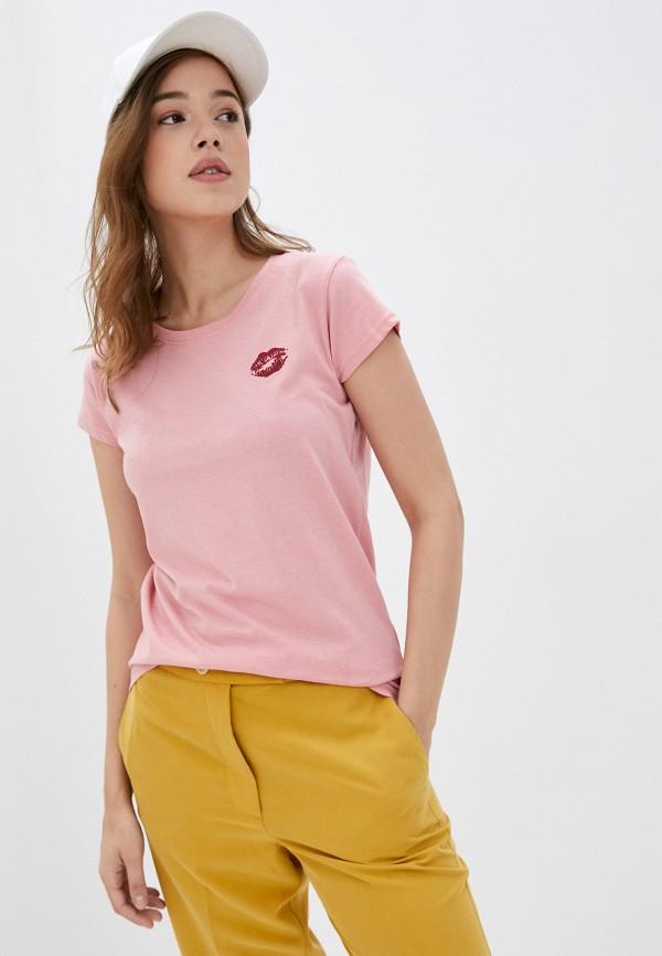 женская футболка rock angel, розовая