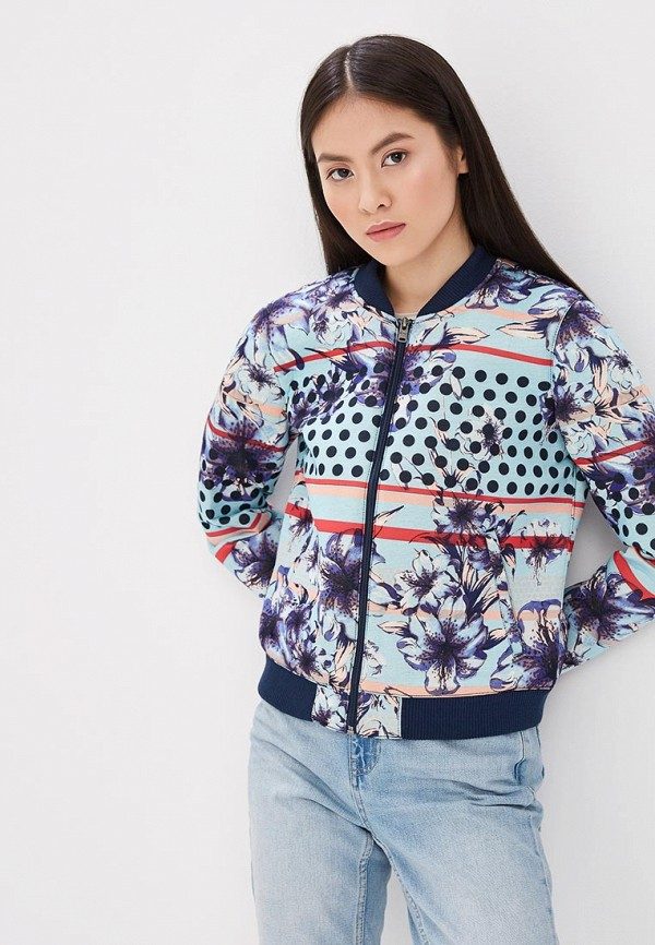 женская куртка бомбер roxy, разноцветная