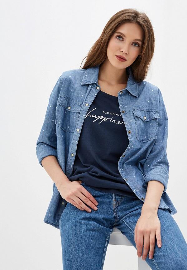 женская рубашка с длинным рукавом roxy, голубая