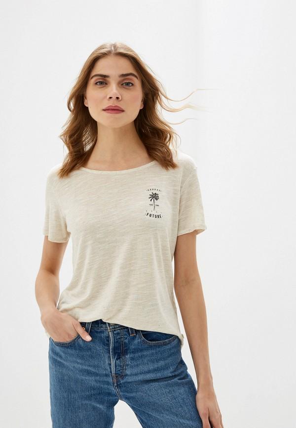 Фото - Женскую футболку Roxy бежевого цвета