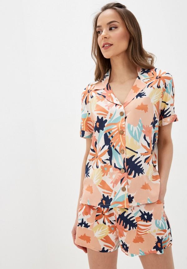 женская рубашка с коротким рукавом roxy, розовая