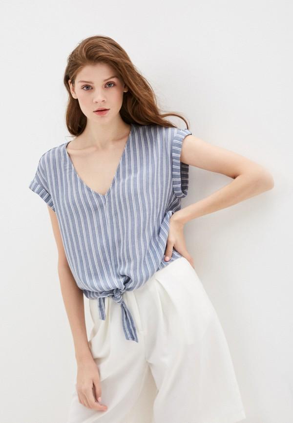 женская блузка с коротким рукавом roxy, синяя
