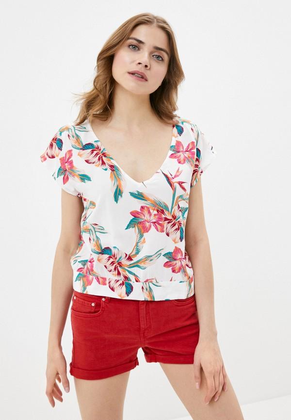 женская блузка с коротким рукавом roxy, белая