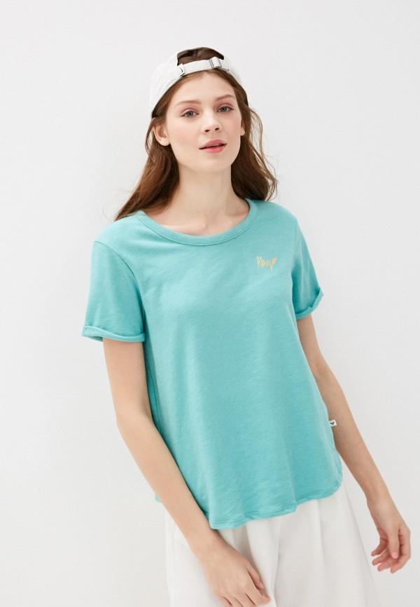 женская спортивные футболка roxy, бирюзовая