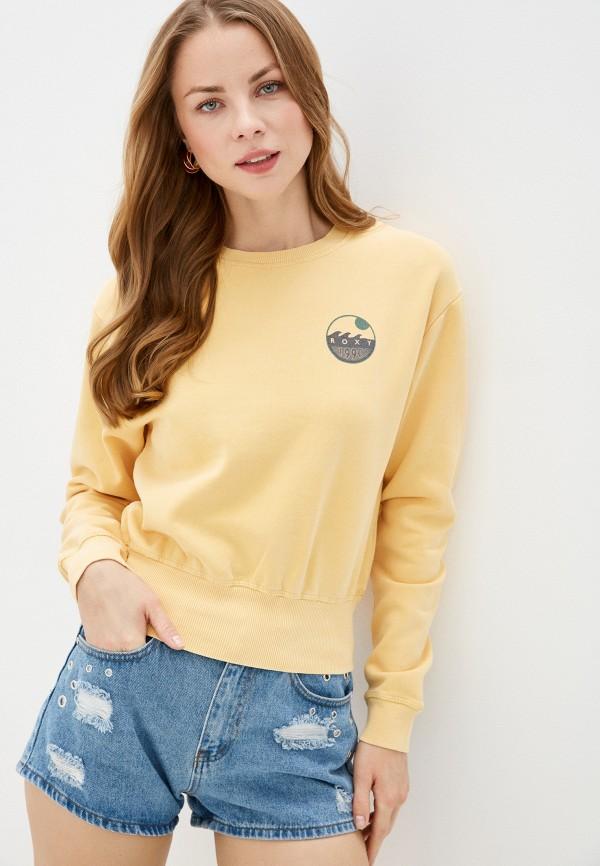 женский свитшот roxy, желтый