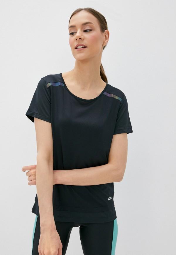 женская футболка roxy, черная