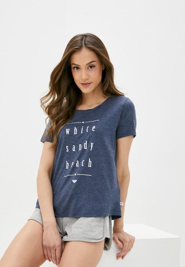 женская футболка roxy, синяя