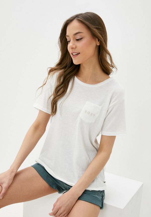 женская футболка roxy, белая