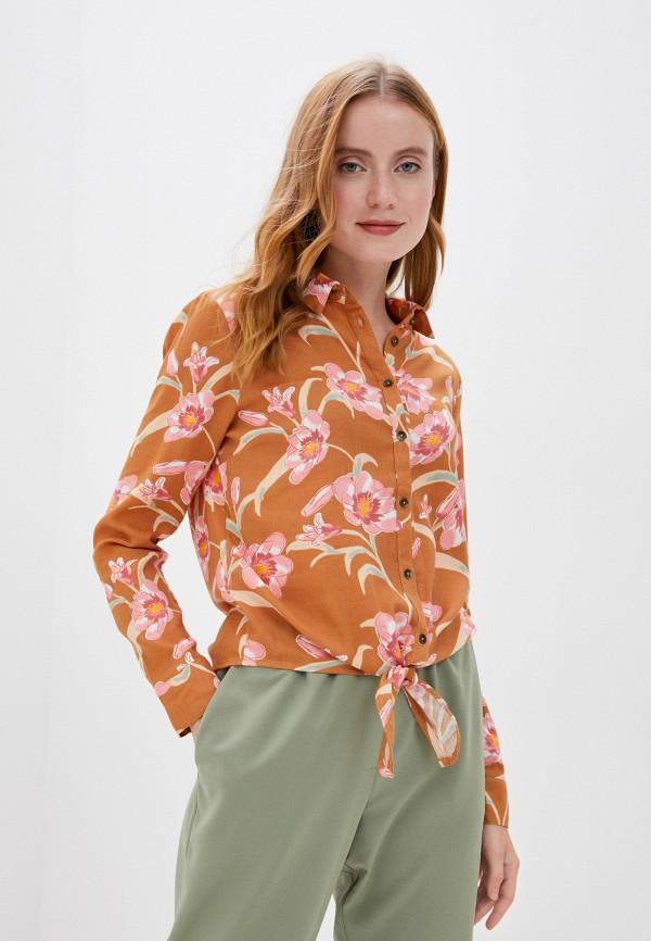 женская блузка roxy, коричневая