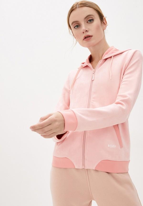 женская толстовка roxy, розовая
