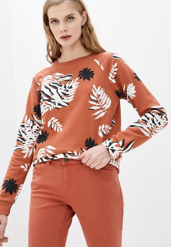 женский свитшот roxy, коричневый