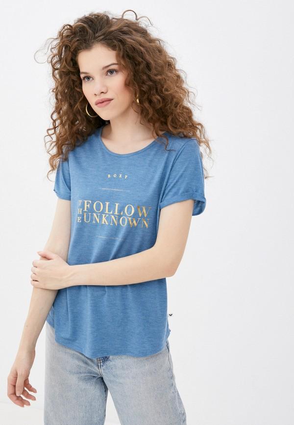 женская спортивные футболка roxy, голубая