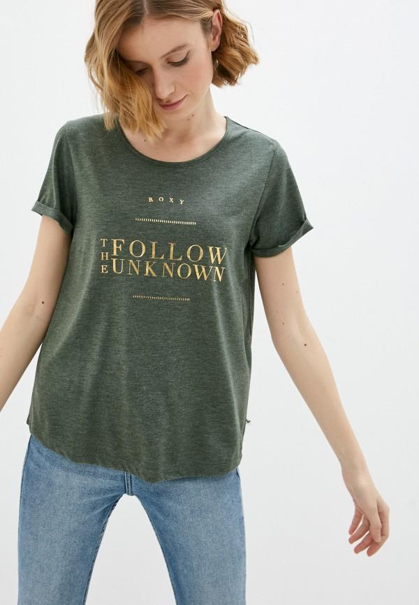 женская спортивные футболка roxy, зеленая