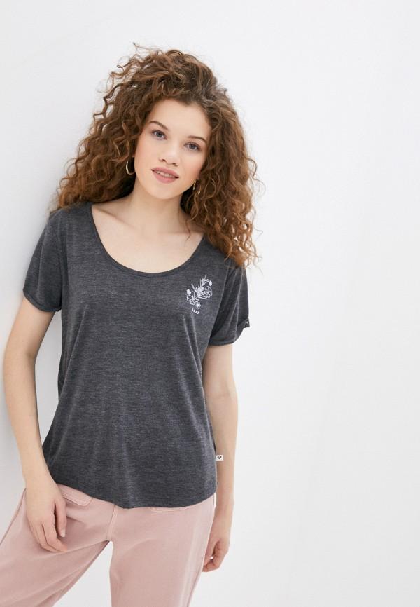 женская спортивные футболка roxy, серая
