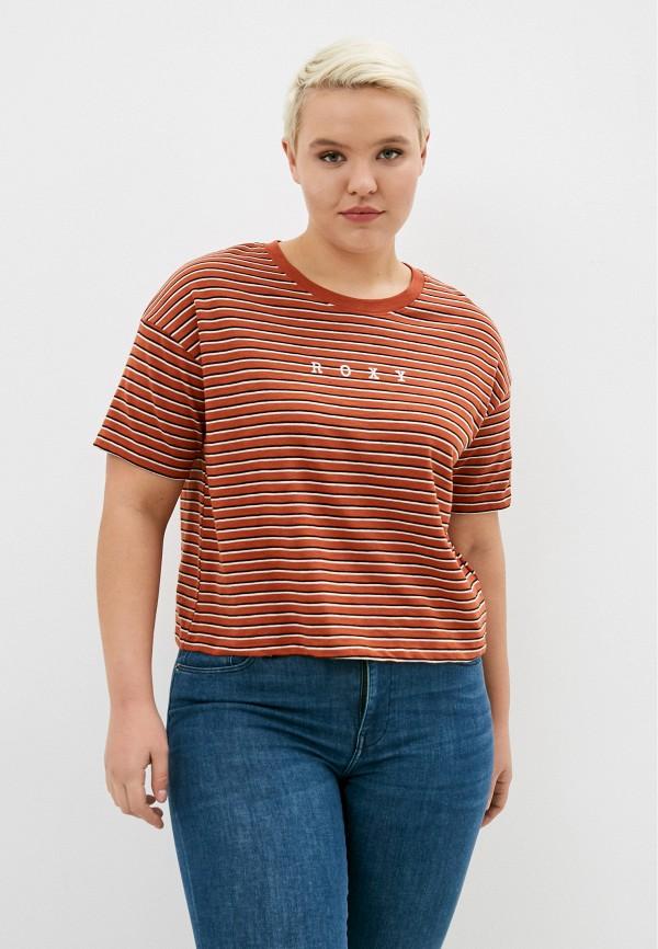 женская спортивные футболка roxy, коричневая