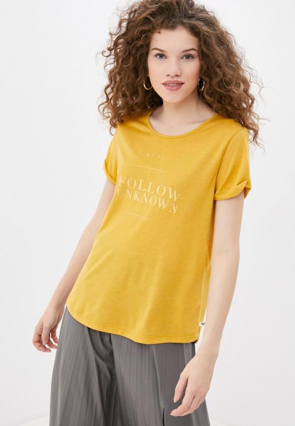 женская спортивные футболка roxy, желтая