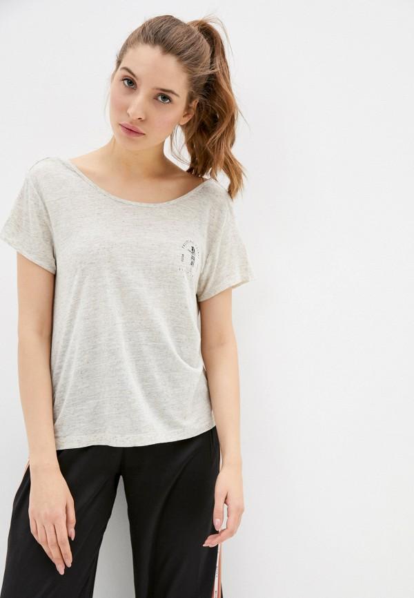 женская спортивные футболка roxy, бежевая