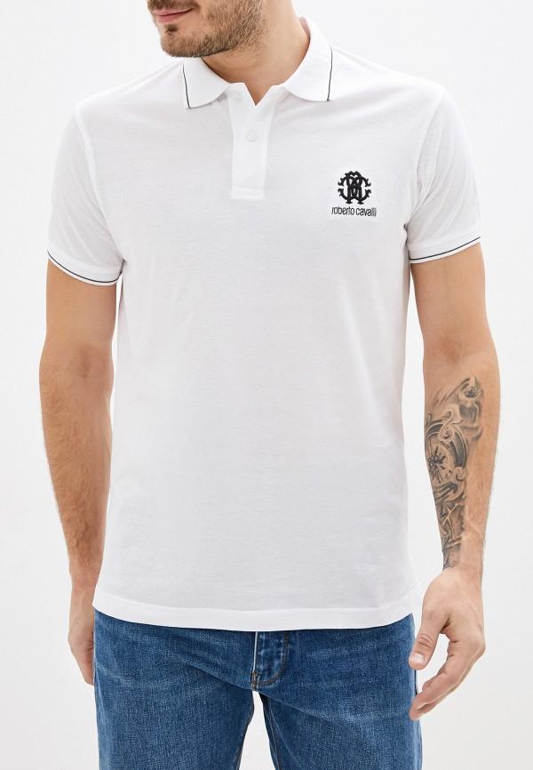 мужское поло с коротким рукавом roberto cavalli, белое