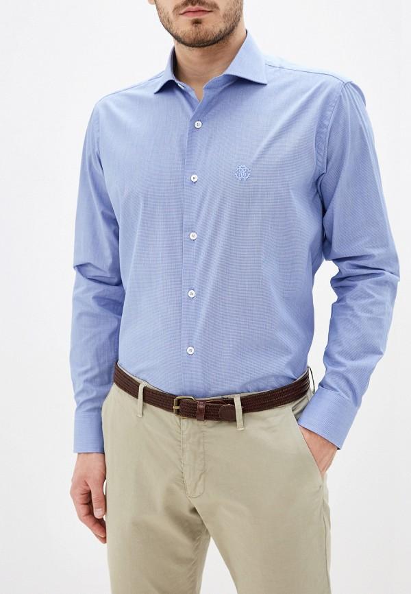 мужская рубашка с длинным рукавом roberto cavalli, синяя
