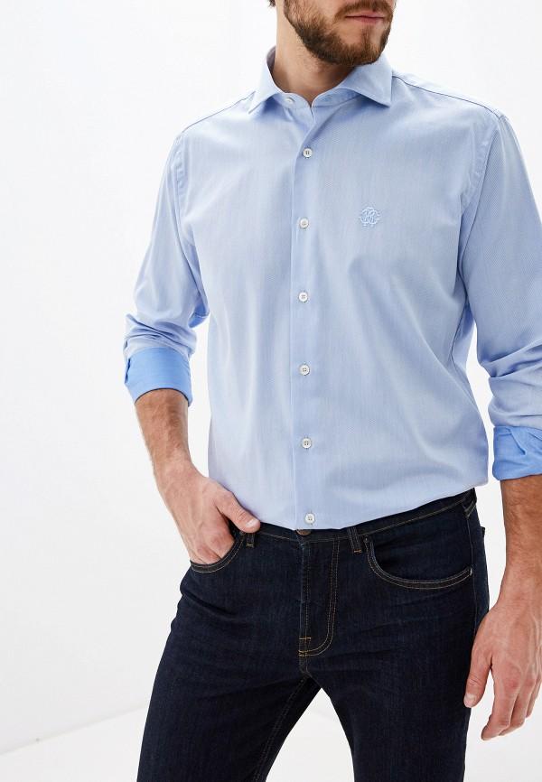 мужская рубашка с длинным рукавом roberto cavalli, голубая