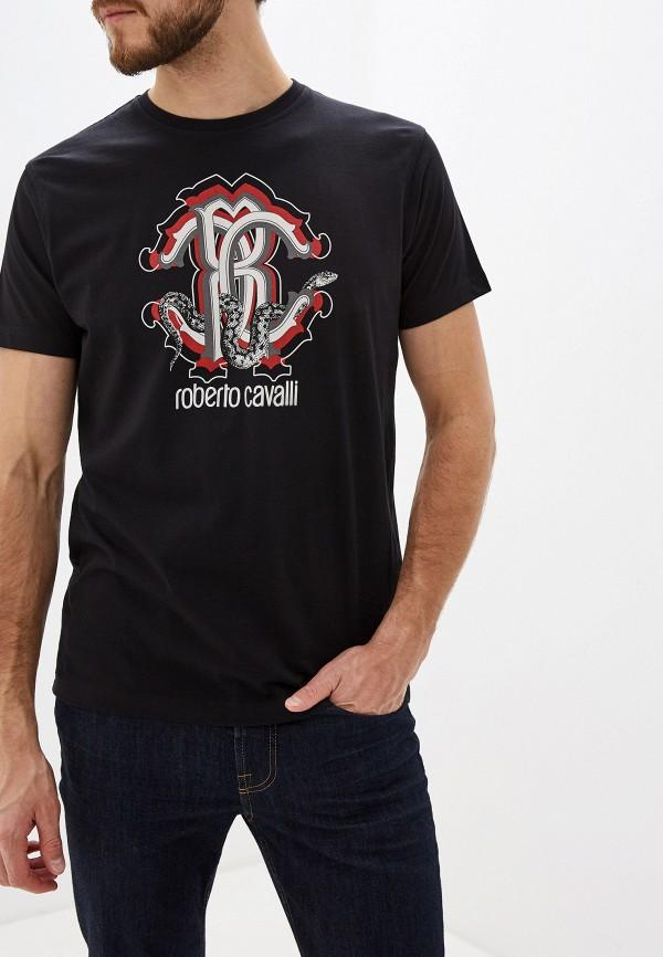 мужская футболка с коротким рукавом roberto cavalli, черная