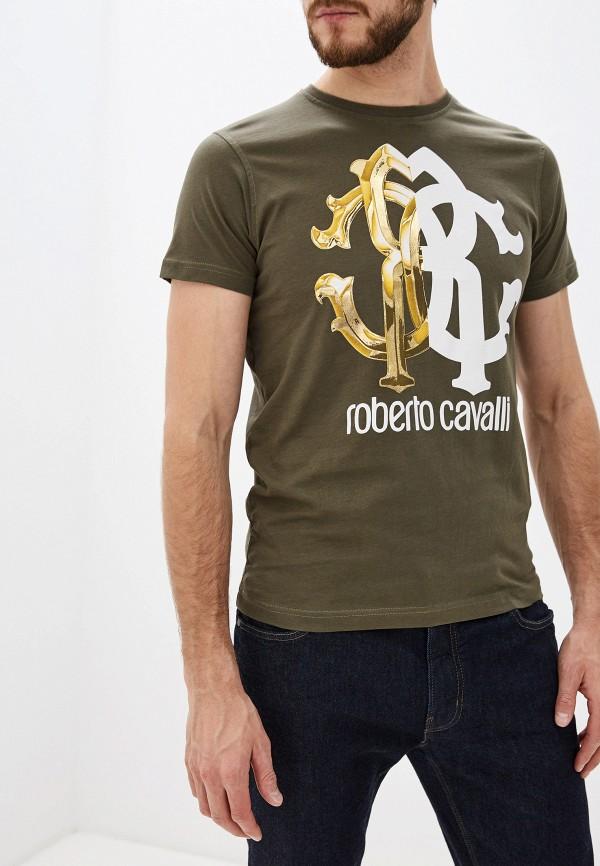 мужская футболка с коротким рукавом roberto cavalli, хаки