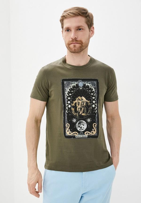 мужская футболка roberto cavalli, хаки