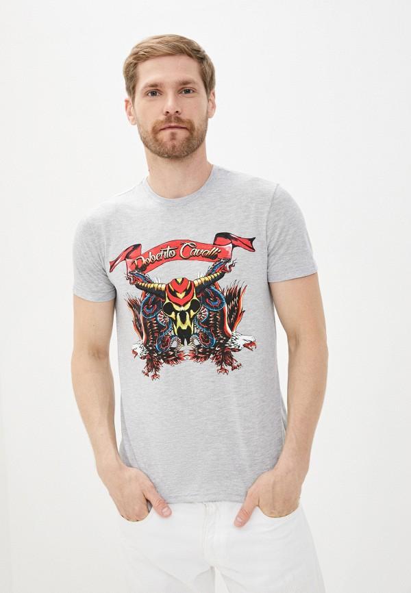 мужская футболка с коротким рукавом roberto cavalli, серая