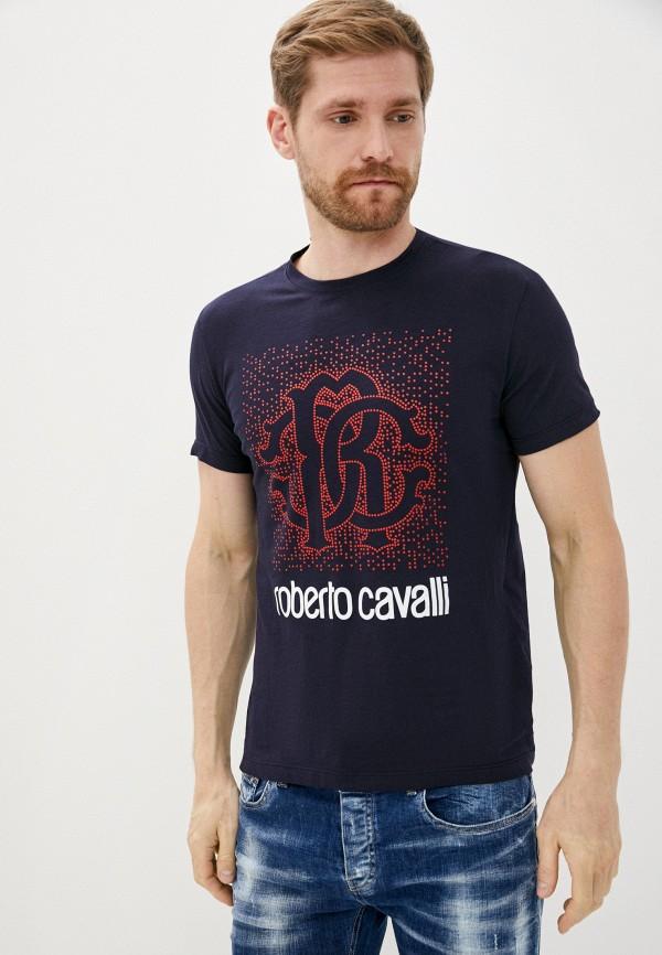 мужская футболка с коротким рукавом roberto cavalli, синяя