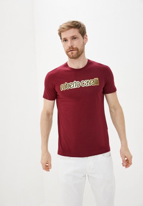 мужская футболка с коротким рукавом roberto cavalli, бордовая