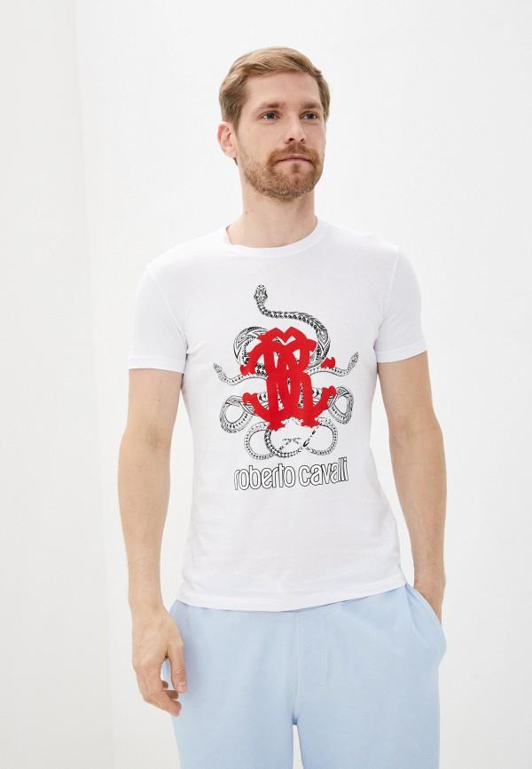мужская футболка с коротким рукавом roberto cavalli, белая
