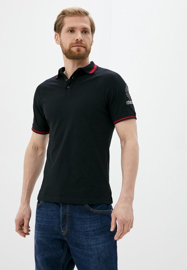 мужское поло с коротким рукавом roberto cavalli, черное