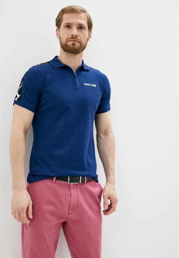 мужское поло roberto cavalli, синее