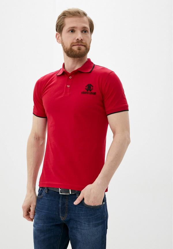 мужское поло roberto cavalli, красное