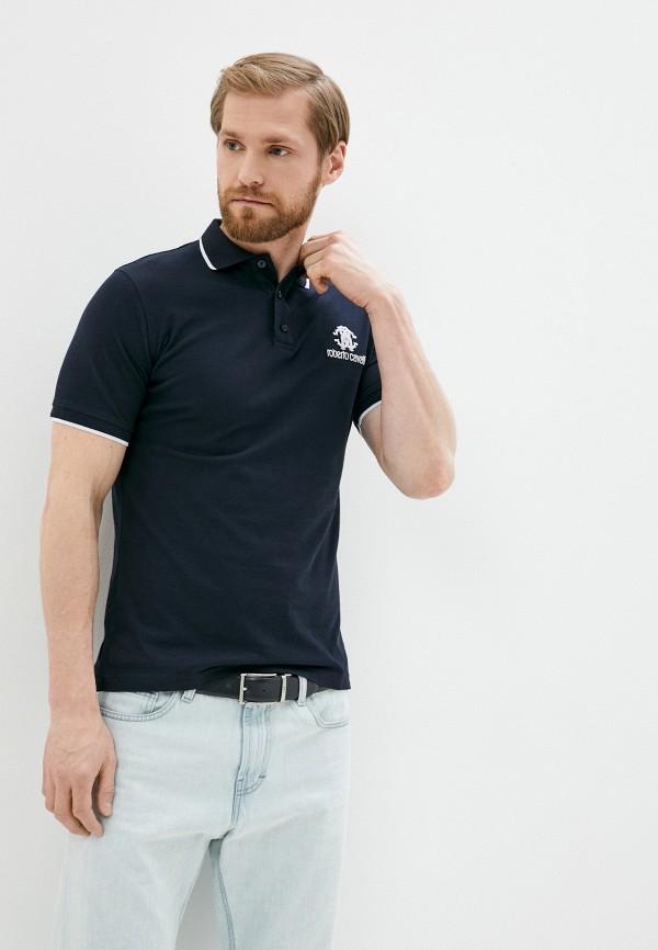 мужское поло с коротким рукавом roberto cavalli, синее