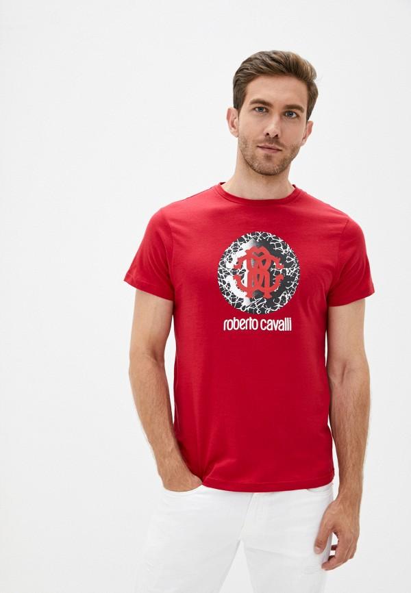 мужская футболка roberto cavalli, красная