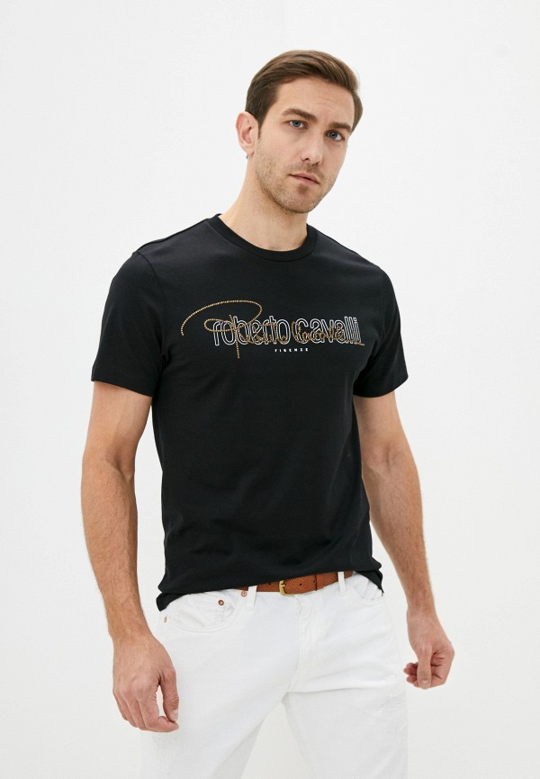 мужская футболка roberto cavalli, черная