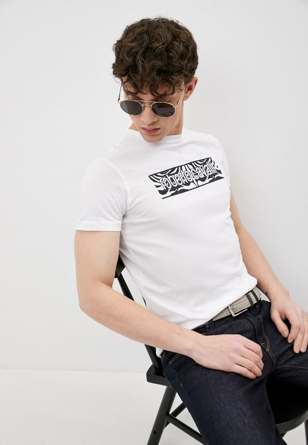 мужская футболка roberto cavalli, белая